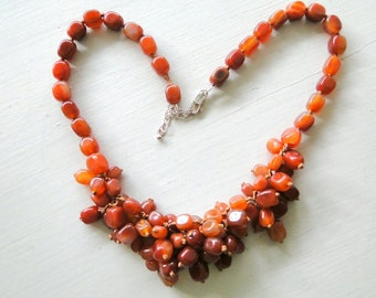 Carnelian Necklace Antique Czechoslovakian Hand Knotted Beads OOAK