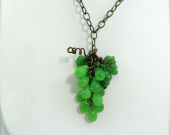 Grape cluster necklace, green grapes pendant, fruit jewelry