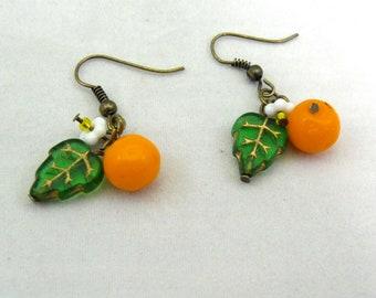 Sweet orange blossom earrings, fruit glass beaded earrings