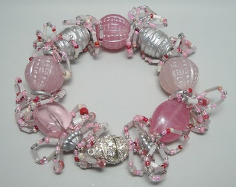 SALE!!! - Bracelet, Beaded, Beautiful, Handmade, Vintage Beads, Pink, Silver, Seed Beads, Loops, FUN