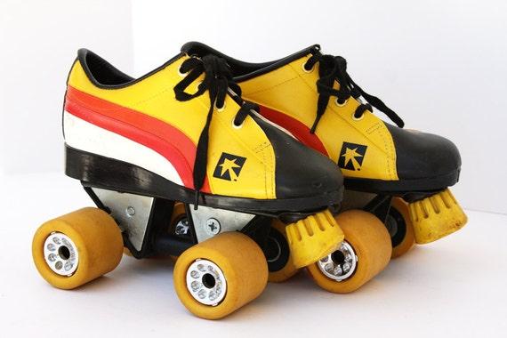 Vintage Retro Roller Skates // Candy Corn Colored // Size 5