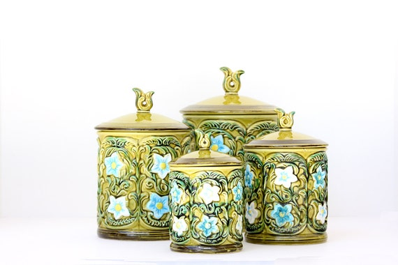 Vintage Lefton Canister Set - Green with Blue and White Flowers