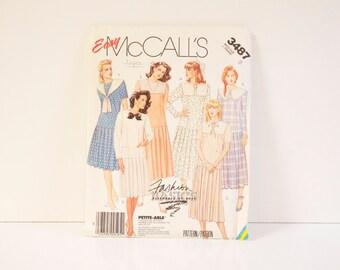 Vintage 1987 McCalls Misses' Dress  Pattern 3487 size 8 uncut