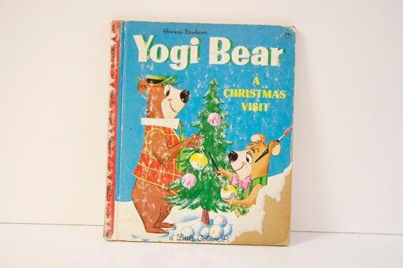 Vintage 1961 Little Golden Book Yogi Bear A Christmas Visit