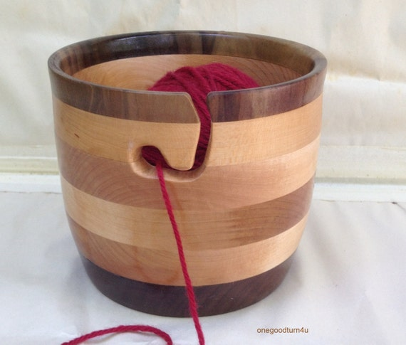 Wooden Knitting Wool Holder : Wooden yarn bowl poplar maple walnut segemented by