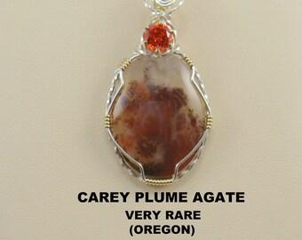 Very Rare AAA Carey Plume Agate Designer Cabochon Pendant.
