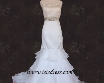 Layered Mermaid Wedding Dress in Organza Size 12