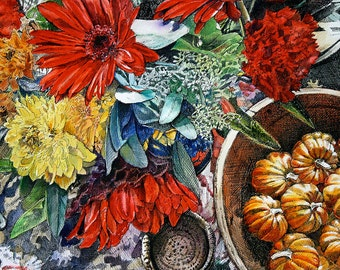 Fall Flowers Art Print- Digital Reproduction- Pen Ink Watercolor- 8x10- Red Orange Yellow Blue- Gerbera Daisies, Mums