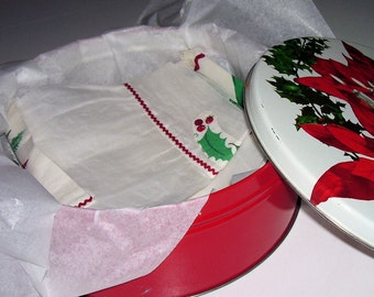 Handmade Vintage Poinsettia Apron, Towels and Tin 1960s