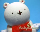 Chubby Polar Bear in Ice - READY TO SHIP - One of a Kind Figurine Collectible - Handmade by The Happy Acorn
