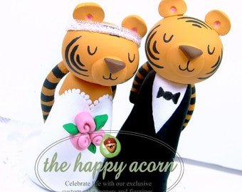 Tiger Wedding Cake Topper Tigers Jungle Cats Bride and Groom - Handmade by The Happy Acorn