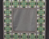Square MIrror in Mixed Green Glass tiles