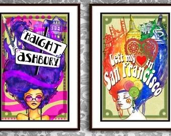 LIMITED EDITION San Francisco Haight Ashbury Poster Print Set
