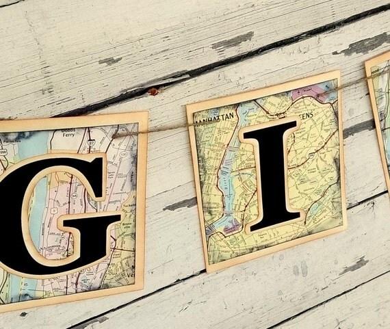 map banner gifts bunting wedding reception recycled decoration