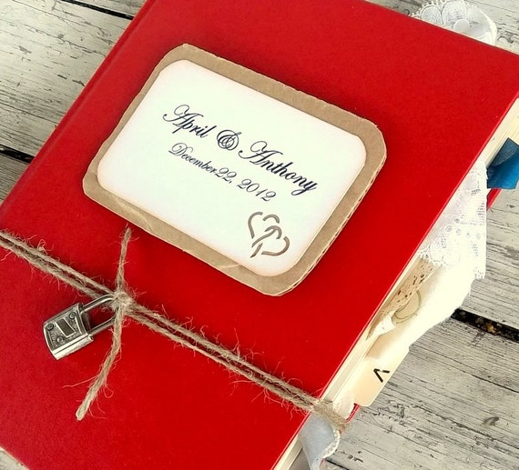 Custom wedding guest book alternative vintage Christmas theme