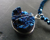 Peacock Blue Druzy Necklace and Pendant
