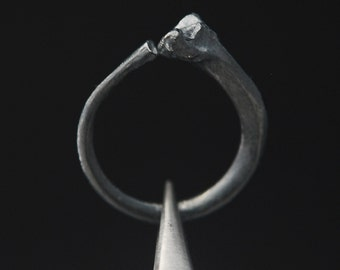 What Remains - Rib Ring 1 in oxidized sterling silver