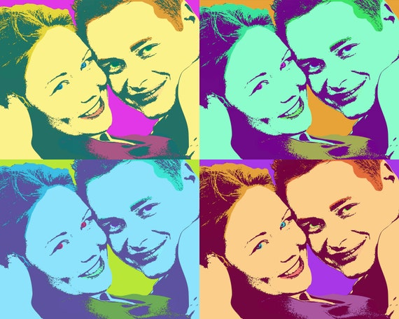 pop art portrait - Andy Warhol style couples portrait, wedding gift ...