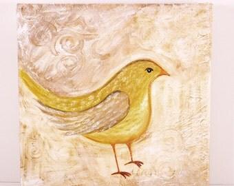 """Wall Art, Art on Canvas, 10"""" x 10"""" Hand Painted, Yellow Bird Art, Home Decor, Textured Folk Art, Bedroom Art, Gift Item, Bird Decor, Art"""