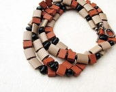 Beaded Long Earth Tones Necklace Rust Taupe Black Rustic Terracotta Ceramic Cushion Beads Sterling Silver - BacaCaraJewelry