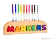 Marker Holder - Personalized Name Wooden Marker Holder - Natural & Organic Wooden Colored 10ct Marker Holder
