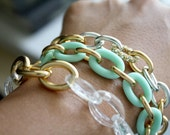 Arm Candy - pale mint and gold link bracelet - gifts under 15