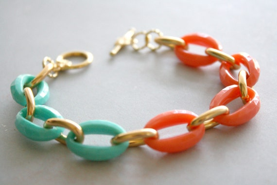 LAST ONE - Arm Candy - coral mint and gold link bracelet - gift under 15