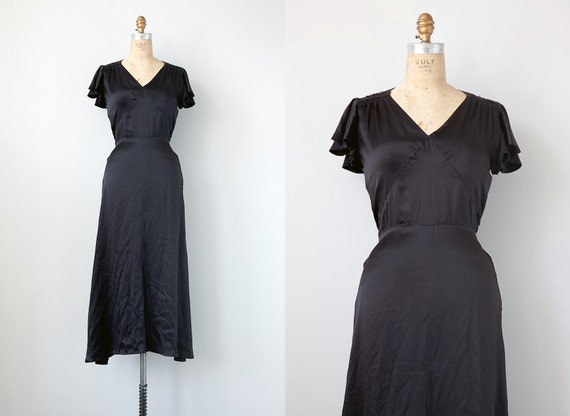 vintage 1930s dress / vintage 1930s inspired dress / black silk vintage dress