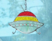 Stained Glass UFO Suncatcher Ornament, Red, Yellow, Blue-Green glass