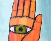 Stained Glass Eye in Hand Icon Suncatcher, Ornament, orange Glass Hand, Green Eye