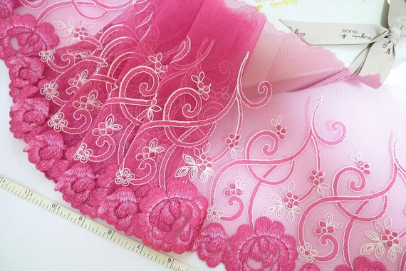 Lace trim, Fuchsia lace, Embroidered lace, Tulle lace, Net fabric, Bridal lace, Doll trim, Lingerie fabric, 3 yards RD175