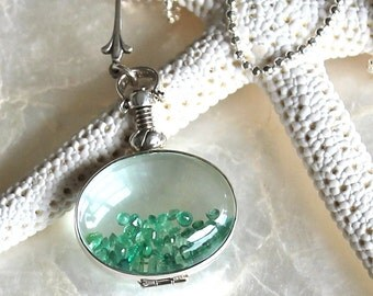 Sands of Time Shake Necklace - Sterling Silver and Faceted Natural Emeralds, Rubies, Sapphires, or Tanzanite - Small Pendant - THE ORIGINAL