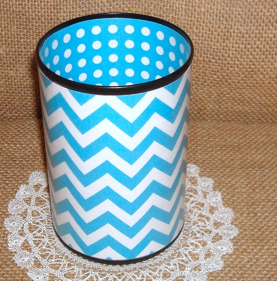 Turquoise and White Chevron Decorative Can Pencil Holder No. 199