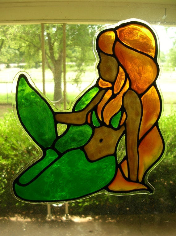 mermaid stained glass window cling. Black Bedroom Furniture Sets. Home Design Ideas