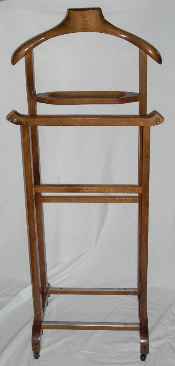 Mid century men s wooden suit clothes valet wardrobe stand