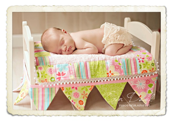 Jane baby Quilt and Bunting Photography Prop American girl  doll quilt