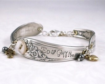 Spoon Bracelet - Family Heirloom Custom Hand Stamped Spoon Bracelet