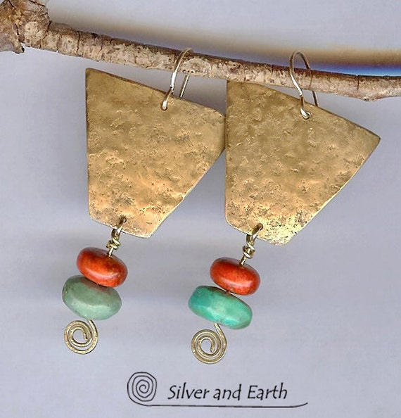 Gold Brass Tribal Earrings with Organic Texture, Red Coral & Turquoise,  Artisan Metalwork Earrings, Colorful Bohemian Tribal Jewelry