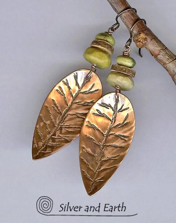 Handmade Copper Leaf Earrings w-Green Serpentine Stones & Wood Beads, Nature Jewelry, Leaf Earrings, Artisan Metalsmith Jewelry