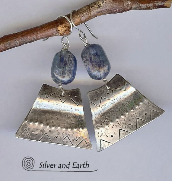 Kyanite Sterling Silver Earrings, Artisan Silver Metalwork Jewelry, Blue Kyanite Jewelry, Modern Tribal Earrings