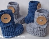 Baby booties crochet for twins with large wooden buttons MIX and MATCH your COLORS