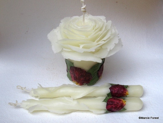 Wedding Unity Candle Set, Unique Engagement Gift, Valentine's Day Wedding, Romantic Decor - Unique Beeswax Rose Candles by Marcie Forest