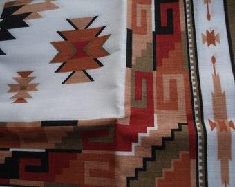 Vintage Scarf Native Inspired Southwest Tribal Earthtones Black Olivine Adobe Rust