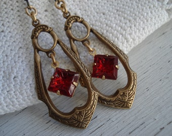 Vintage Detailed Gold Faceted Ruby red Glass Dangles Drops Earrings Victorian Inspired
