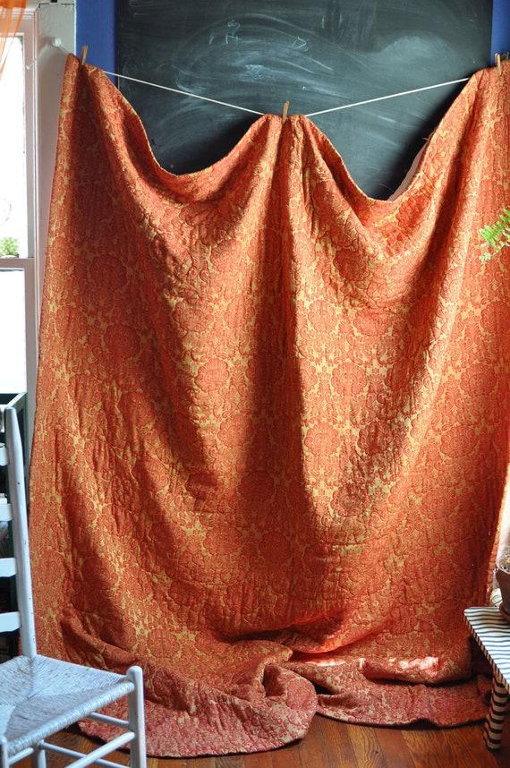 Vintage 1970 Elegant Bedspread In Reds and Golds