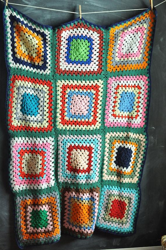 Vintage Afghan Blanket  Multi Color Rainbow Squares