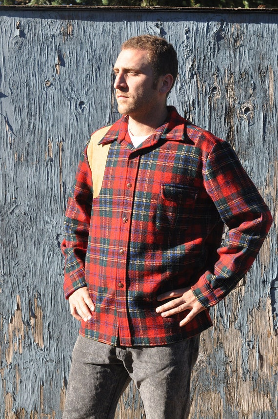 RESERVED FOR ETHAN Vintage Lobo by Pendleton 100% Virgin Wool Plaid Hunting shirt with Leather Patch