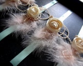 Wrist Corsage - Vintage rose with feather and pearls