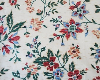 "Fabric Waverly floral, cream, green, blue, cranberry, ""Tree House"", 2 piece remnant"