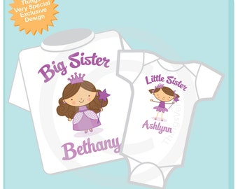 Big Sister Shirt, and Little Sister Brunette Princess Onesie or Shirt Set Personalized Princess Tee Shirt or Onesie Set of Two (06232012a)